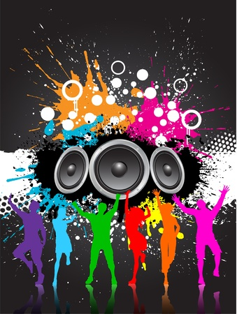 speakers: Grunge style music background with speakers and colourful silhouettes of people dancing