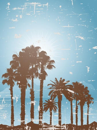 Tropical landscape with a grunge style effect Vector