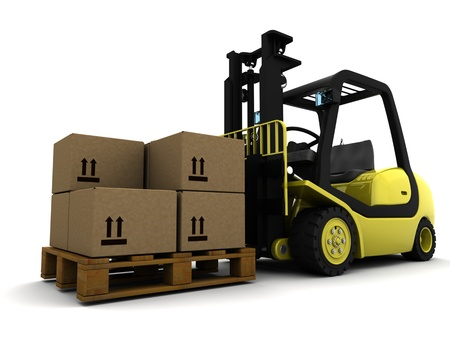 fork lift: 3D Render of Yellow Fork Lift Truck Isolated on White