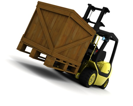 freight: 3D Render of Yellow Fork Lift Truck Isolated on White