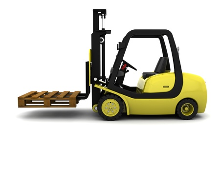 storage warehouse: 3D Render of Yellow Fork Lift Truck Isolated on White