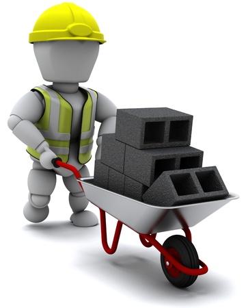 barrow: 3D render of a Builder with a wheel barrow carrying bricks