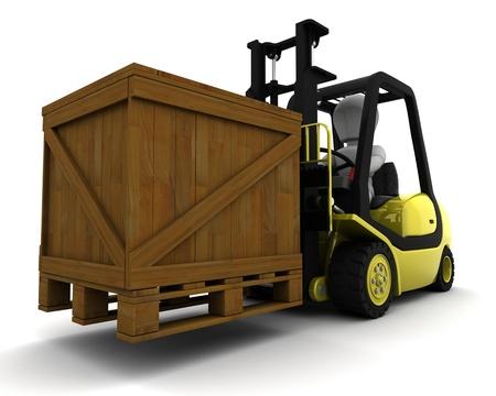 fork lift: 3D Render of Man Driving Fork Lift Truck Isolated on White