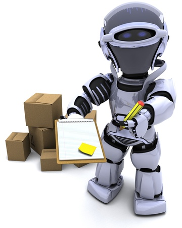 3D render of Robot with Shipping Boxes Stock Photo - 9778037