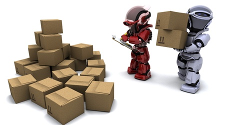 3D render of Robot with Shipping Boxes Stock Photo - 9778044