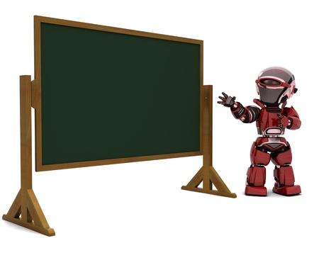 3D render of a robot teacher in classroom Stock Photo - 9778014