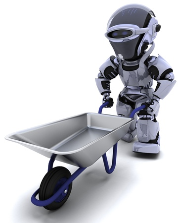 3D render of a robot with a wheel barrow Stock Photo - 9778030