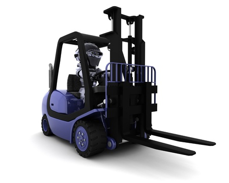 3D Render of Robot Driving a  Lift Truck  photo