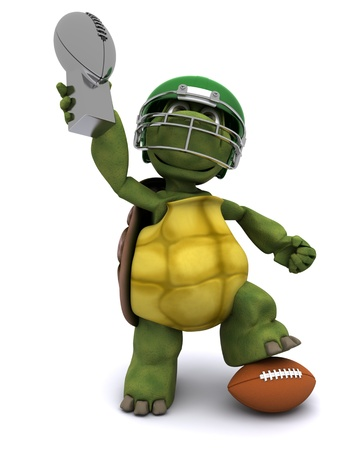 sports shell: 3D Render of a Tortoise with an american football
