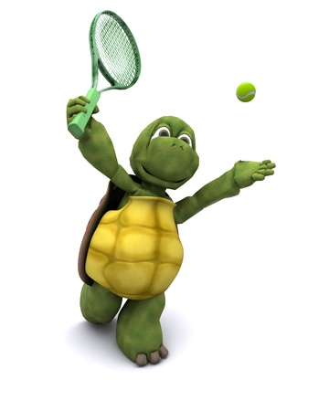playing tennis: 3D Render of a Tortoise playing tennis Stock Photo