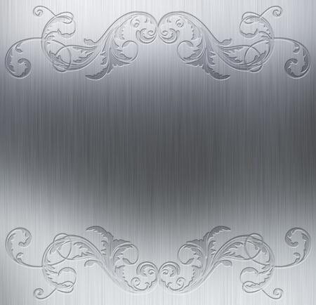 Brushed metal background with decorative floral border Stock Photo - 9851424