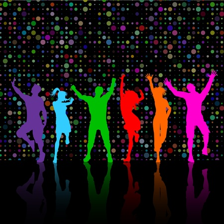 Colourful silhouettes of party people dancing on a dotty background photo