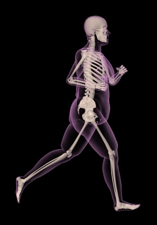 3D render of an overweight female medical skeletong running photo