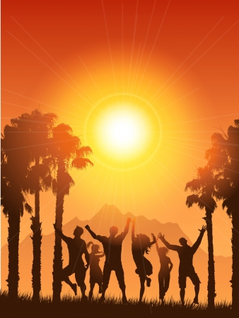 summery: Silhouettes of people dancing on a summery background Stock Photo