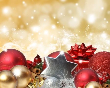 Colourful background with stars and bokeh lights effect and Christmas decorations Stock Photo - 9920036