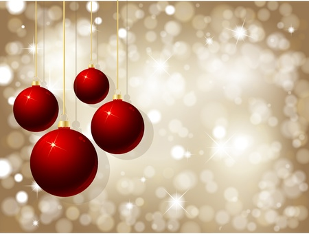 Christmas baubles on a glittery gold background Stock Vector - 9920045