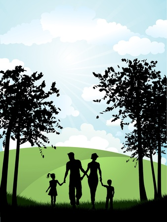 family outside: Silhouette of a family walking outside in the countryside Illustration
