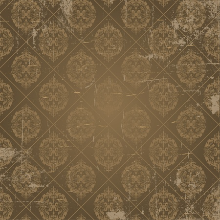 Grunge background of damask style antique wallpaper Vector
