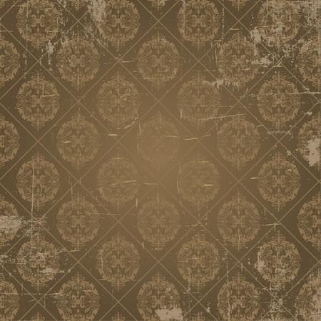 fleur de lis: Grunge background of damask style antique wallpaper Illustration