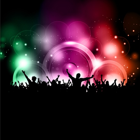 glowing lights: Silhouette of a party crowd on a glowing lights background with speakers