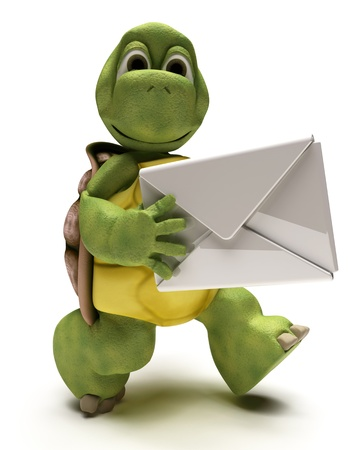 3D render of a Tortoise with a white envelope Stock Photo - 10047605