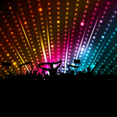 disco lights: Silhouette of a crowd with banners and flags on a disco lights background Illustration