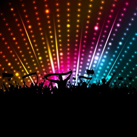 Silueta de una multitud con pancartas y banderas en un fondo de luces disco