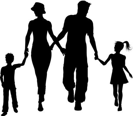 Silhouet van een familie lopen hand in hand