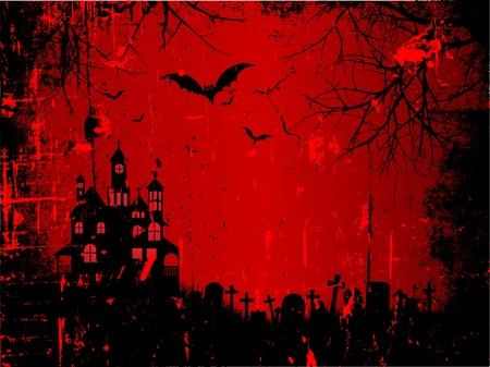 horror house: Spooky Halloween background with a grunge style effect