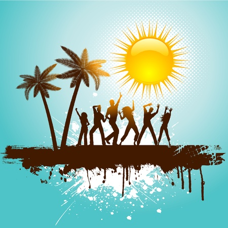 Silhouettes of people dancing on a tropical grunge background Illustration