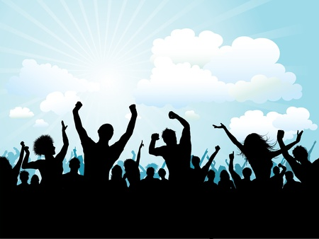 youngsters: Silhouette of a party crowd against a blue sky Illustration