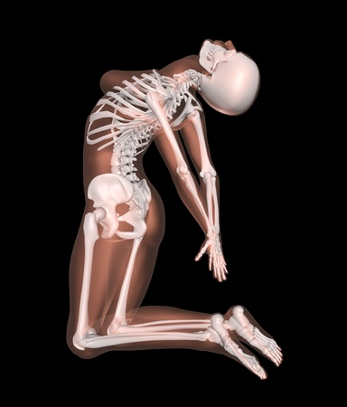 the skeleton: 3D render of a female medical skeleton in a yoga position Stock Photo