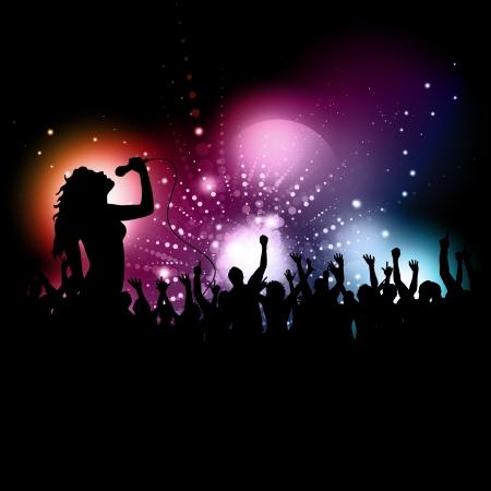 Silhouette der eine Sängerin, die an ein Publikum ausführen