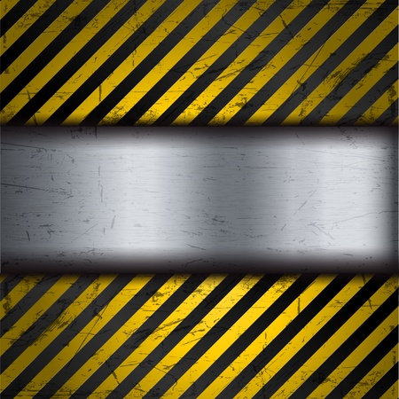 Grunge metal background with yellow and black warning stripes Stock Vector - 10297004