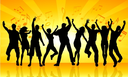 Silhouettes of people dancing on an orange starburst music background