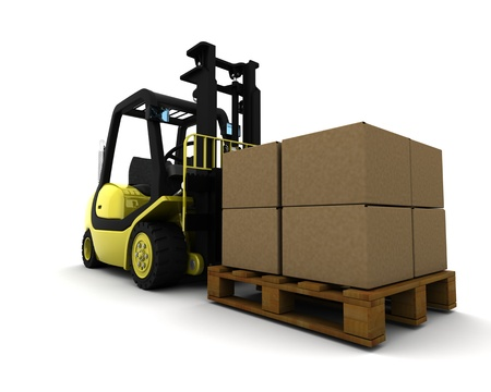 pallet truck: 3D Render of Yellow Fork Lift Truck Isolated on White