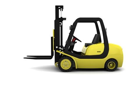 lift truck: Render 3D del cami�n amarillo Levante Tenedor aislados en blanco Foto de archivo