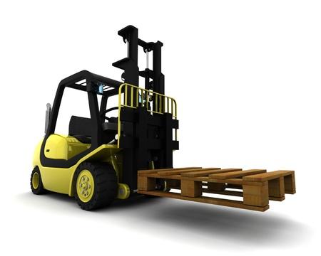 lift truck: Render 3D de Cami�n Amarillo Ascensor Tenedor aislado en blanco