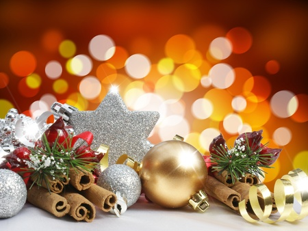 decoration lights: Christmas decorations on a blurred lights background