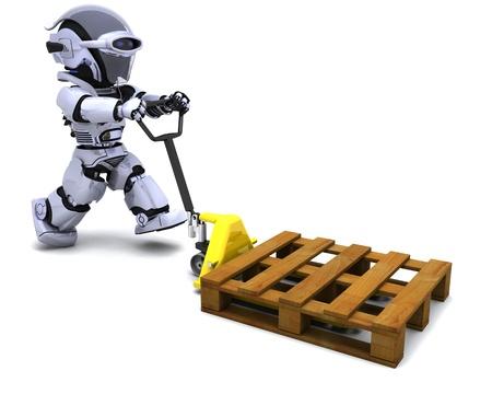 3D übertragen von Robot mit Liefer-Boxen