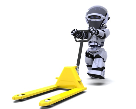 render: 3D render of Robot with yellow pallet truck
