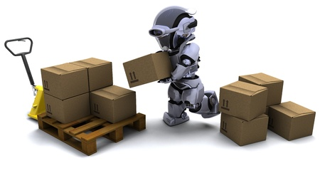 3D render of Robot with Shipping Boxes Stock Photo - 10416411