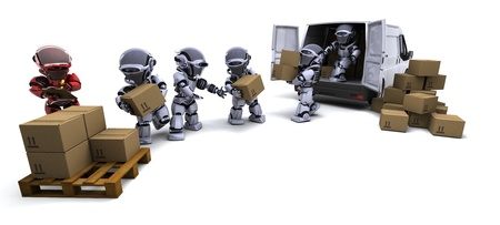3D render of Robot with Shipping Boxes loading a van Фото со стока