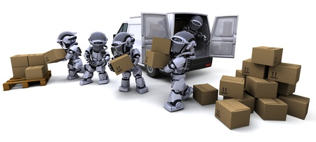 3D render of Robot with Shipping Boxes loading a van Stock Photo - 10416425