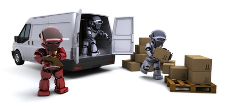 3D render of Robot with Shipping Boxes loading a van Stock Photo - 10416426