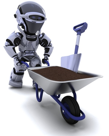 3D render of a robot gardener with a wheel barrow carrying soil Stock Photo - 10416413