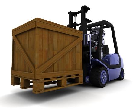 3D Render of Robot Driving a  Lift Truck Stock Photo - 10416416