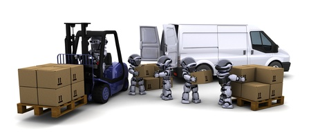 3D Render of Robot Driving a  Lift Truck  Stock Photo - 10416415
