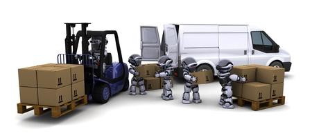 3D Render of Robot Driving a  Lift Truck Stock Photo - 10416415