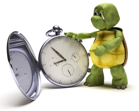 slow: 3D render of a Tortoise with a classic pocket watch